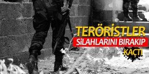 Teröristler silahlarını bırakıp kaçtı
