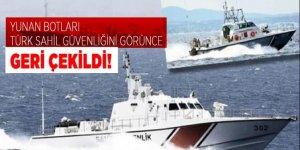 Türk Sahil Güvenliği'ni gören Yunan botları geri çekildi
