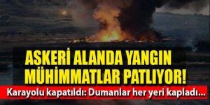 Askeri konteyner bölgesinde yangın ve patlamalar