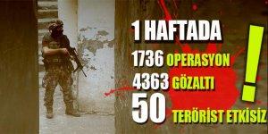 Bir haftada 50 terörist etkisiz hale getirildi