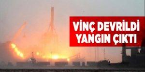 İstanbul'da vinç devrildi yangın çıktı