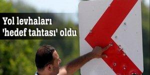 Adana'da yol levhaları 'hedef tahtası' oldu