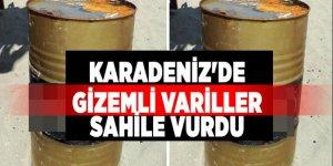 Karadeniz'de gizemli variller sahile vurdu