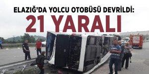 Elazığ'da yolcu otobüsü devrildi: 21 yaralı