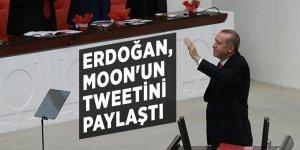 Erdoğan, Moon'un tweetini paylaştı