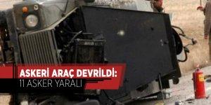 Askeri araç devrildi: 11 asker yaralı