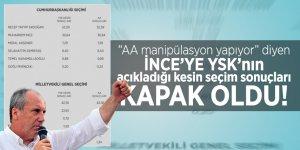 """""""AA manipülasyon yapıyor"""" diyen İNCE'YE YSK'nın açıkladığı kesin seçim sonuçları KAPAK OLDU!"""