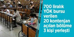 700 liralık YÖK bursu verilen 20 kontenjan açılan bölüme 3 kişi yerleşti