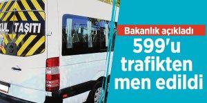 Bakanlık açıkladı: 599'u trafikten men edildi