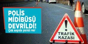Bitlis'te polis midibüsü devrildi! Çok sayıda yaralı var