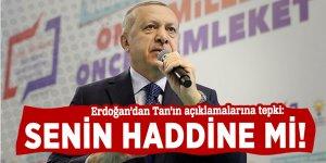 Erdoğan'dan Tan'ın açıklamalarına tepki: Senin haddine mi!
