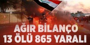 Irak'ta protestolarda ağır bilanço: 13 ölü, 865 yaralı