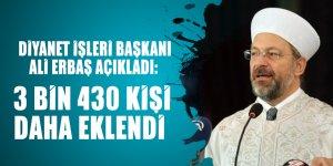 Diyanet İşleri Başkanı Ali Erbaş açıkladı: 3 bin 430 kişi daha eklendi