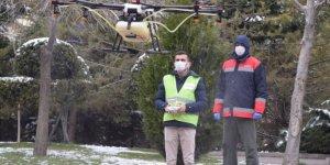 Ankara'da Pursaklar Belediyesi Drone ile Dezenfekte Çalışmalarını başlattı