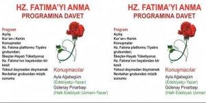 Hz. Fatıma'yı anma programına davet!