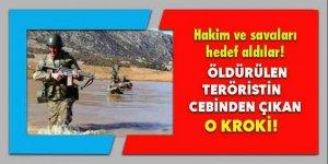 Öldürülen teröristin cebinden çıkan kroki!