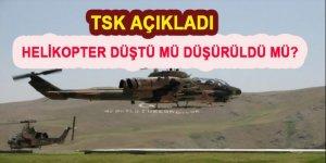 TSK'dan düşen helikopter için açıklama!
