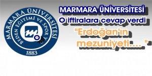 Marmara Üniversitesi Cumhurbaşkanı Erdoğan'ın diplomasıyla ilgili yapılan iftiralarla ilgili açıklama yaptı.