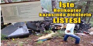 İşte Giresun'da düşen askeri helikopter'dekilerin listesi