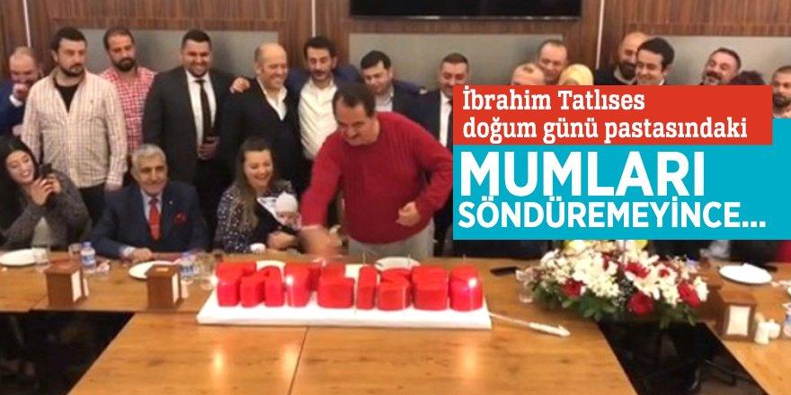 İbrahim Tatlıses doğum günü pastasındaki mumları söndüremeyince...