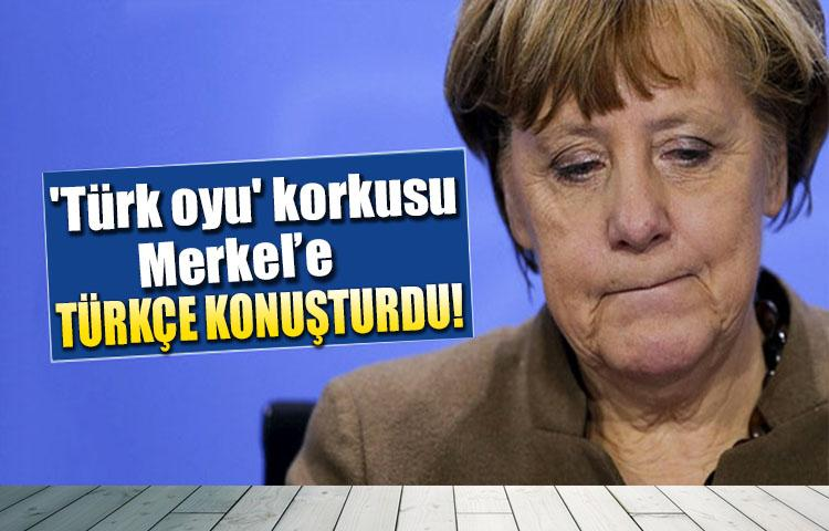 'Türk oyu' korkusu Merkel'e Türkçe konuşturdu